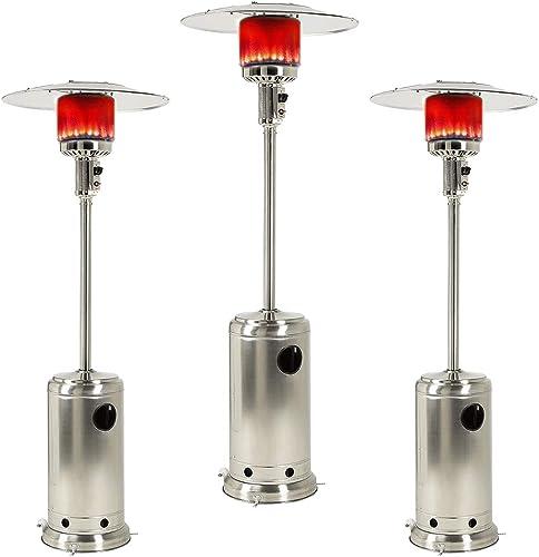 3 Set Outdoor Gas Patio Heater Commercial Outdoor Heater Standing Outdoor Heater Stove Propane Gas Portable 48000 BTU.