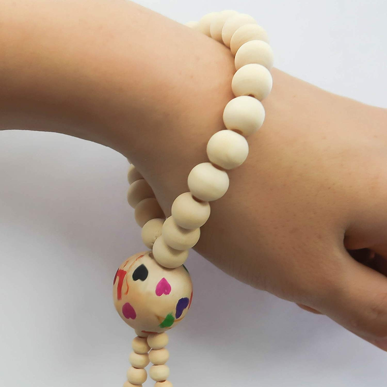 TOAOB 150pcs 6mm Perles en Bois Rond Naturel L/âche Spacer Perles pour Bijoux Fabrication Accessoire DIY