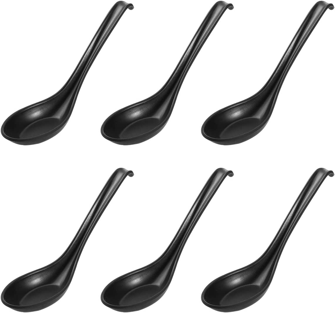 BESTONZON Soup Spoons,6pcs Japanese Style Melamine Spoons Creative Rice Spoons Chinese Asian Soup Spoons With Long Handle for Restaurants, Food shops, Catering Halls (Bright Surface/Hook Style)