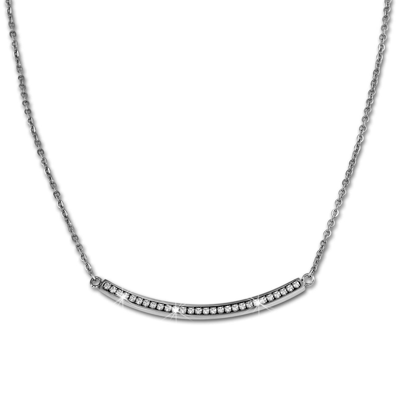 Halskette 84cm O-Kette Edelstahl 333er Rosegold Schmuck rose weiß Amello ESK101E