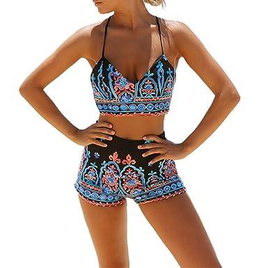 12881c1251971c GWELL Damen Bikini Set mit Hotpants Push Up BH Strand Bademode Mehrfarbig,  Gr. S
