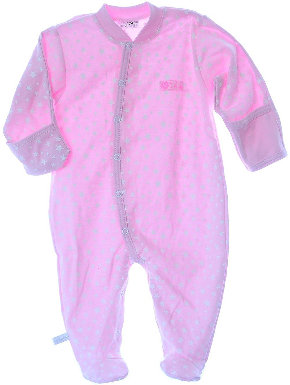 Strampler mit Kratzschutz Umschlag/ärmel Baby 50 bis 92 Overall Schalfanzug Grau mit Sterne