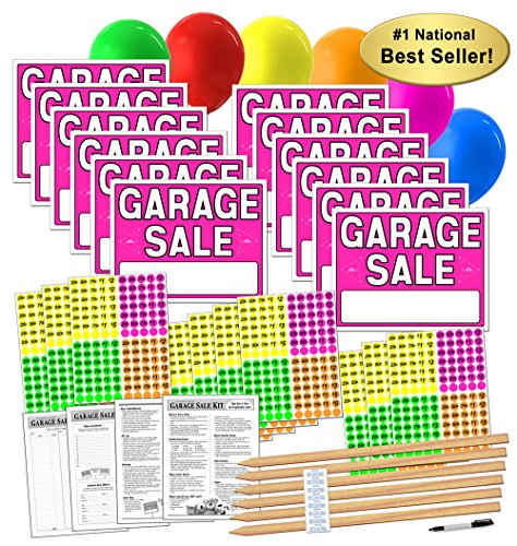 Garage Sale Sign Kit with Pricing Stickers and Wood Sign Stakes (A802G) by Garage Sale Pup