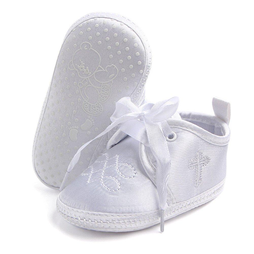 Aorme Baptism Shoes with Cross Christening Sneaker Anti-Slip Prewalker Bootie Slipper