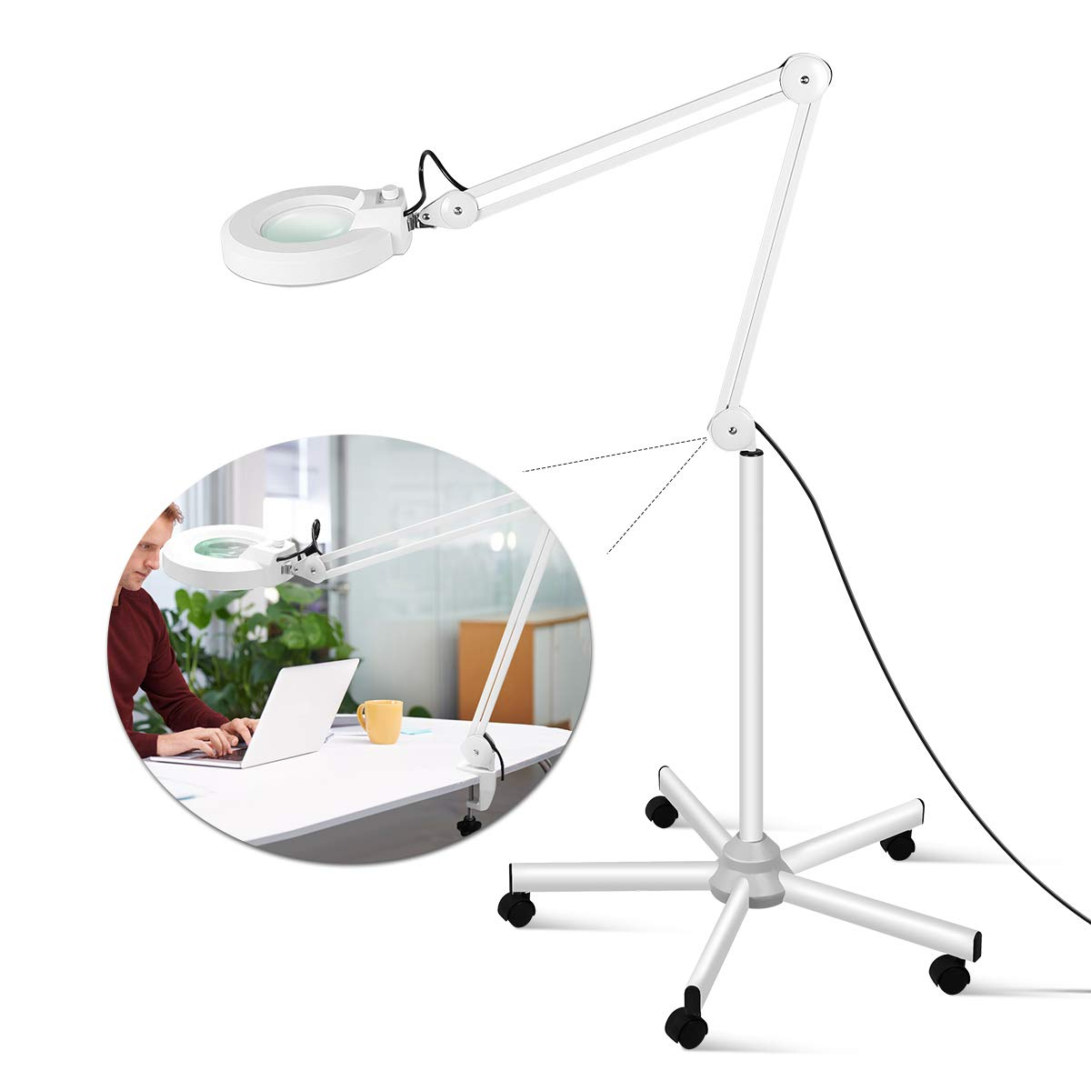 LED Floor Lamp, Innqoo LED Magnifying Desk Clamp Lamp Lighted Magnifier for Reading, Crafts & Pro Tasks, Adjustable & Dimmable