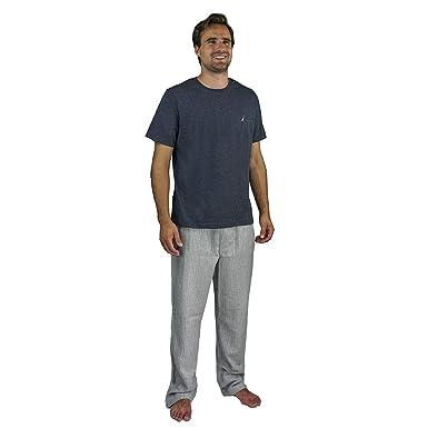 Amazon.com  Nautica Men s Pajama Set with T-Shirt and Plaid Pant ... f7f0a7b70