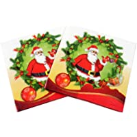 BESTOYARD 100pcs Christmas Napkins Paper with Santa Claus Pattern Christmas Table Decorations