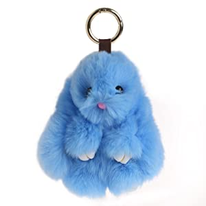 Zjzhao Rabbit Faux Fur Doll Hare Bunny Keychain Holder Keyring Women Bag Pendant Gift (Blue)