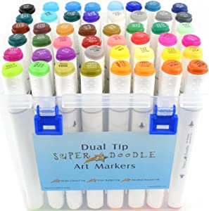 Super Doodle 48 Color Alcohol Markers - Dual Tip Alcohol Based Art Marker Set for Adults, Permanent Highlighter Pens with Case, Fine Bullet and Chisel Tips for Kids Coloring Sketching and Illustration