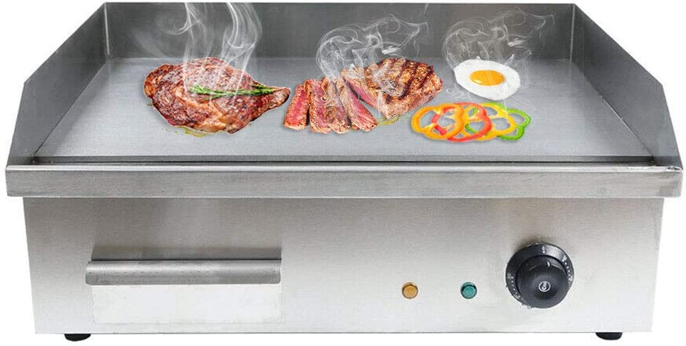 Electric Countertop Griddle, 3000W Commercial Heavy Duty Restaurant Tabletop Flat Top Grill Machine with Adjustable Temperature Control