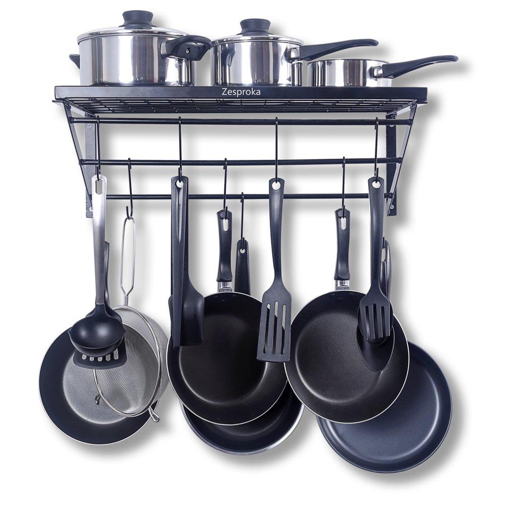 ZESPROKA Kitchen Wall Pot Pan Rack,With 10 Hooks,Black E5-YLPV-6MNV