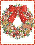 Entertaining with Caspari Candy Wreath Christmas Cards, Box of 16
