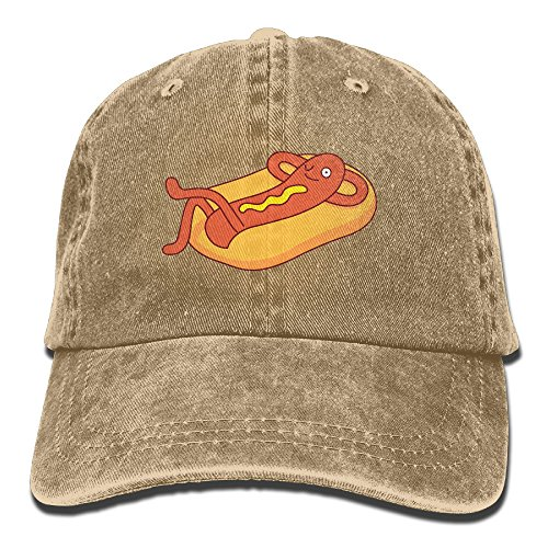 Unisex Costumes Adult Mustard Bottle (Suaop Hotdog Character Relaxing On A Bun With Mustard Dressing Unisex Vintage Washed Distressed Cotton Hat Travel Baseball Cap Polo Style)