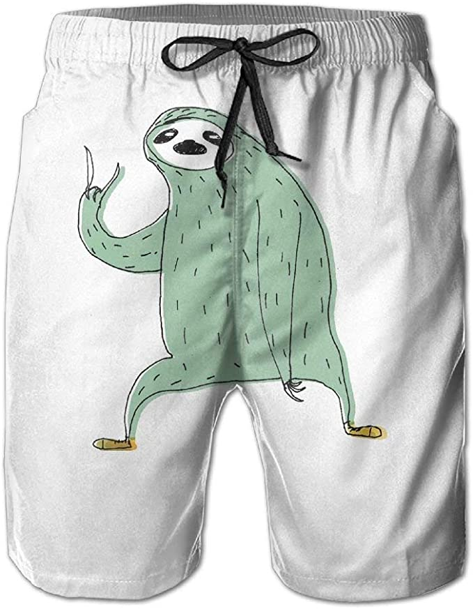 Cute Sloths Pattern Mens Fashion Board//Beach Shorts Dry Fit Pockets Swimming Shorts