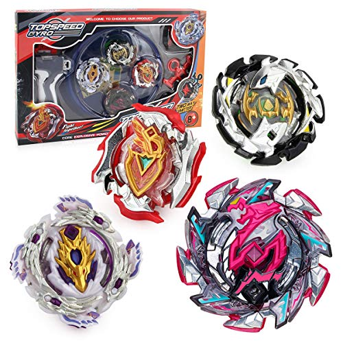 Bey Burst Starter Battling Top Fusion Metal Master Rapidity Fight with Two 4D Launcher Grip Set(4 in 1)