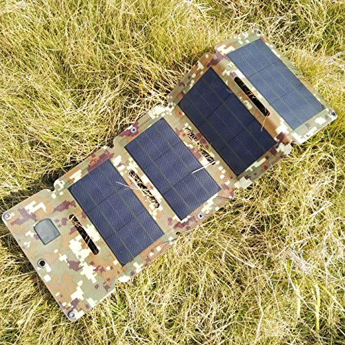 holey Sulprewopi 10W USB Solar Cell Charger,Foldable Monocrystalline Mobile Solar Panel For Charging Smartphone,Power Banks Camouflage