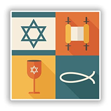 2 X 20cm200mm Jewish Religious Symbols Vinyl Stickers Travel