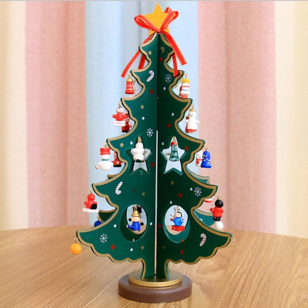 FENZL Christmas Tree Decor, Santa Snowman Wood Tree Toy Doll Gift for Children Kids (L, green)