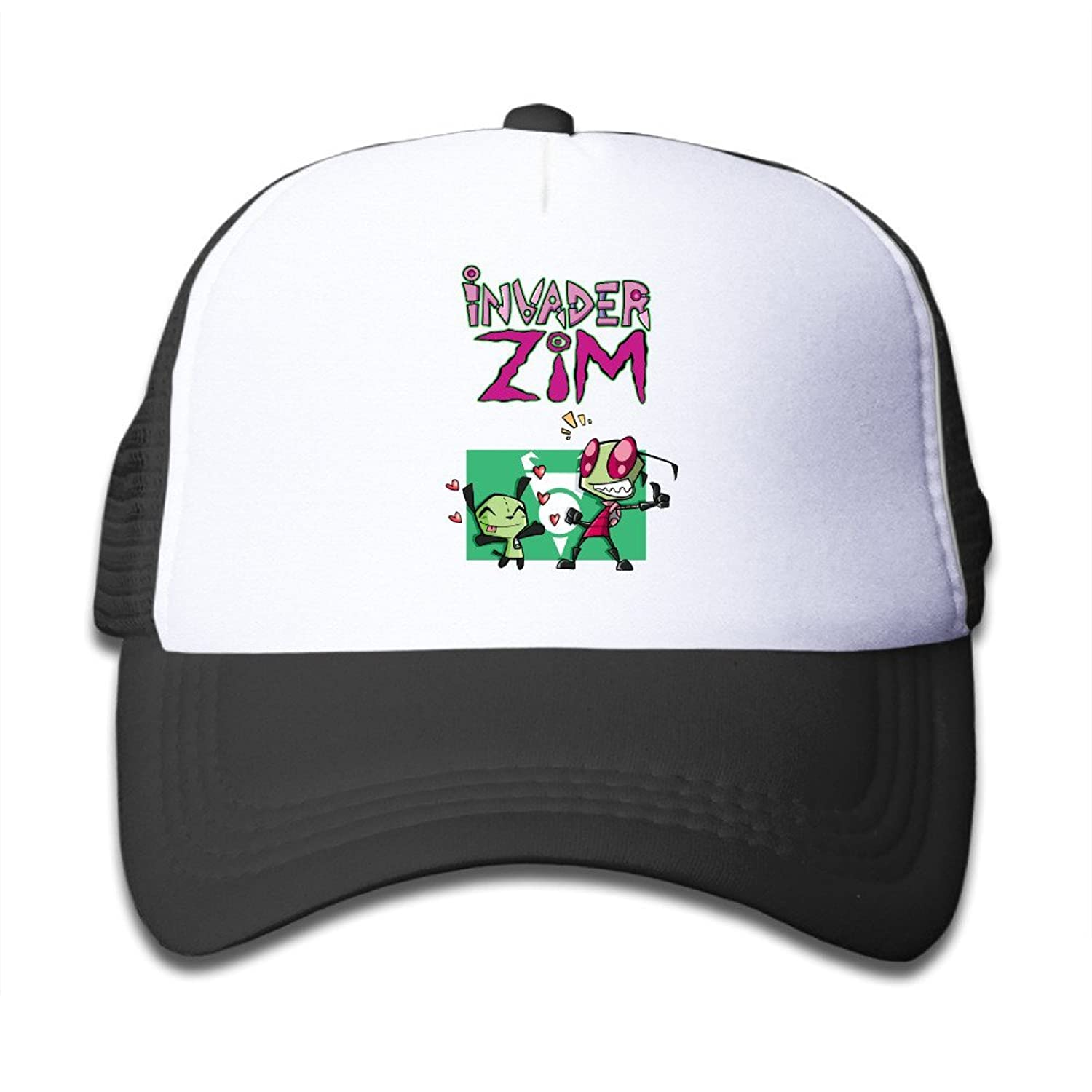 Matthe Youth Children Girl Boy Kids Element Printed Pattern Invader Zim Unisex Half Mesh Adjustable Baseball Cap Hat Snapback SkyBlue