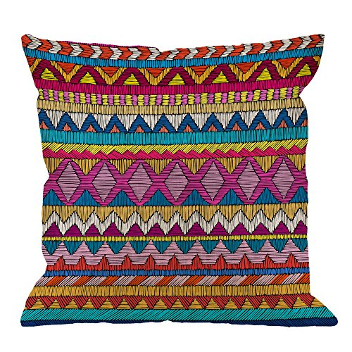 HGOD DESIGNS Indian Sari Pillow Covers,Decorative Throw Pillow Embroidered Pattern Ornament Colorful Ethnic and Tribal Pillow cases Cotton Linen Square Cushion Covers For Home Sofa couch 18x18 inch