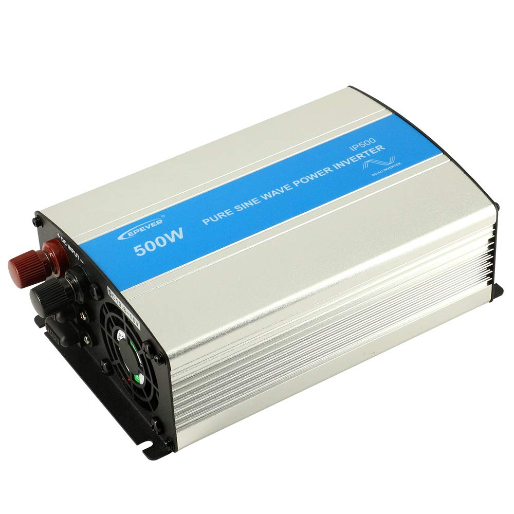 EPEVER 500W Pure Sine Wave Inverter, 12VDC Input 110VAC 120VAC Output, 50HZ 60HZ Solar Inverter(500W)