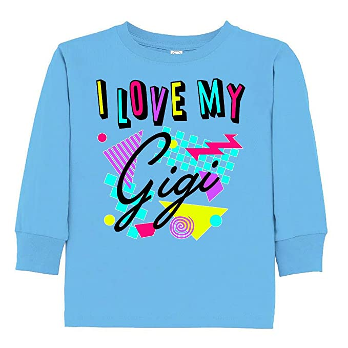 7ec8ae987aa34 Amazon.com  inktastic - I Love My Gigi- 80s Retro Style Toddler Long ...