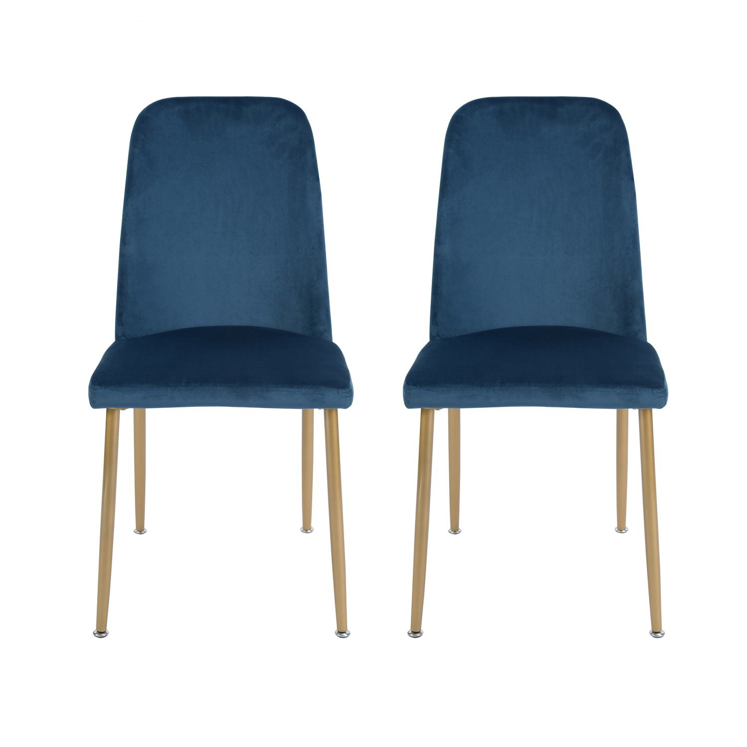 H.J WeDoo Set of 2 Velvet Dining Chairs High Back Chairs, Modern Style Soft Upholstered Back and Cushion, Metal Legs in Spray Gold Finish - Blue