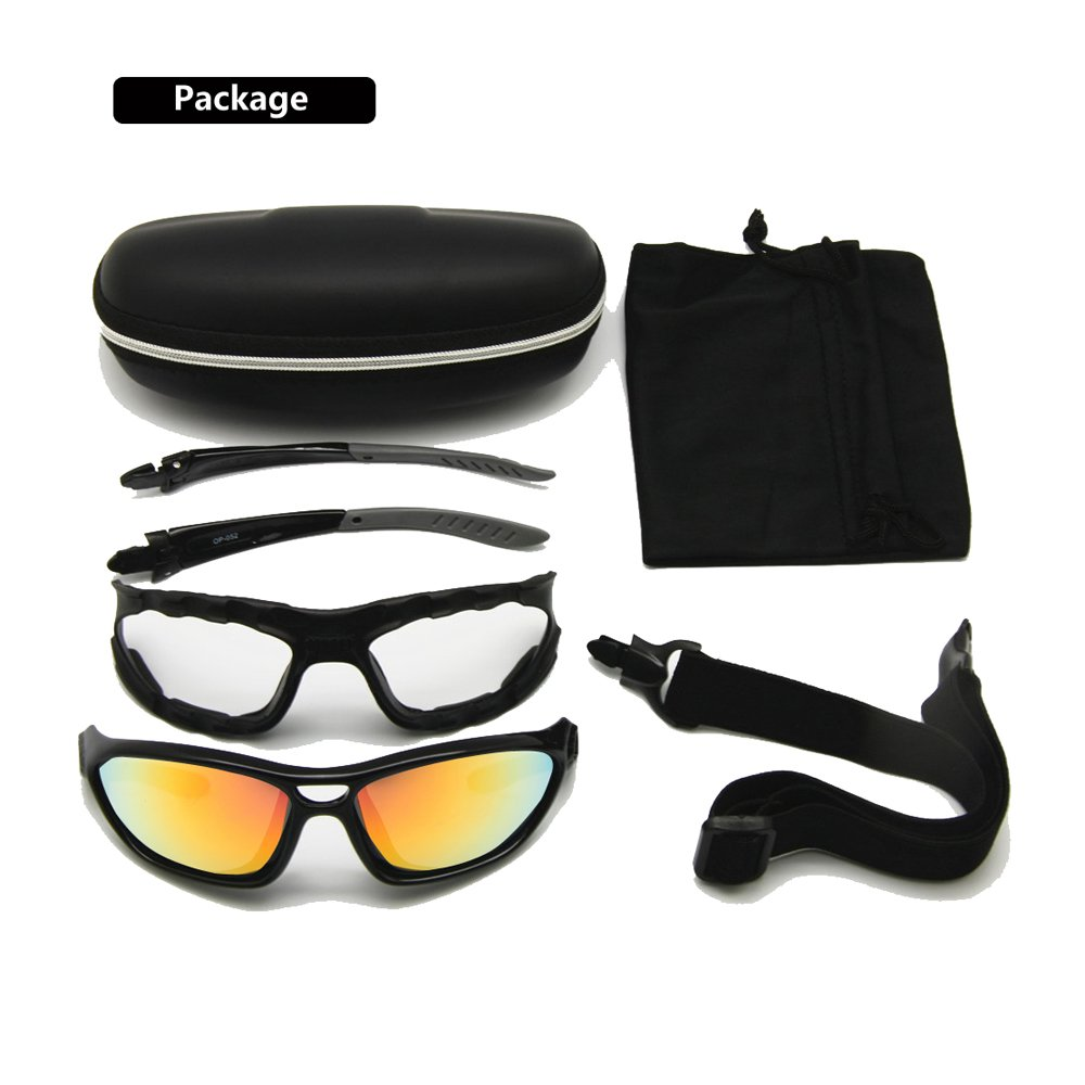 Helmet Sunglasses Interchangeable Temples Strap EnzoDate 2 Motorcycle Goggles Polarized Clear Lenses Day Night