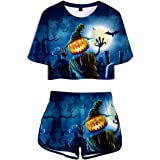 SERAPHY Unisex Halloween T-Shirt+Short Set Personlised Short Sleeve Top Pyjama Set with 3D Printing Pumpkin and Blood Patterns