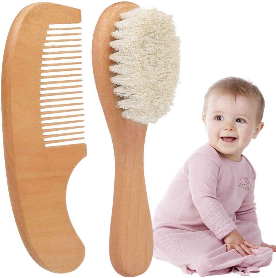 Superweiche Ziegenhaarpflege Kids Baby Kit MZY1188 Baby Haarb/ürste mit Holzgriff,2pcs Naturholzb/ürste und Kamm-Set