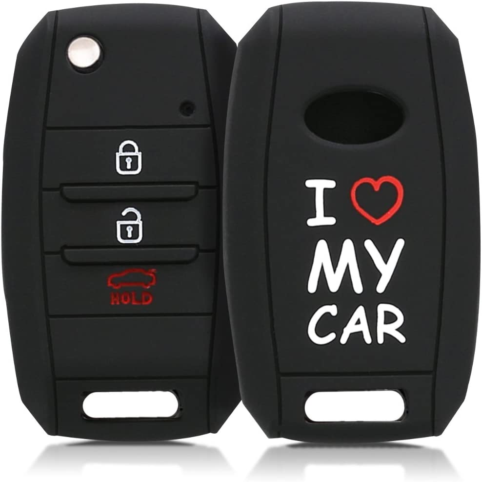 kwmobile Car Key Cover Compatible with Kia 3-4 Button Car Key I Love My Car White//Red//Black Silicone Protective Key Fob Cover
