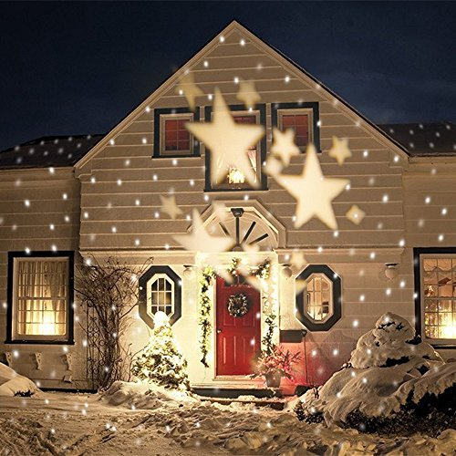 GAXmi LED Beleuchtung Weihnachten Landschaft Scheinwerfer Fee Sterne Muster Garten Mauer Hochzeit Draussen Wasserdicht projektiert Spotbeleuchtung (Weich Weiß)