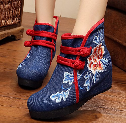 AvaCostume Womens Peony Embroidery Wedge Heel Ankle Booties Blue With Cotton Lining z3tIp
