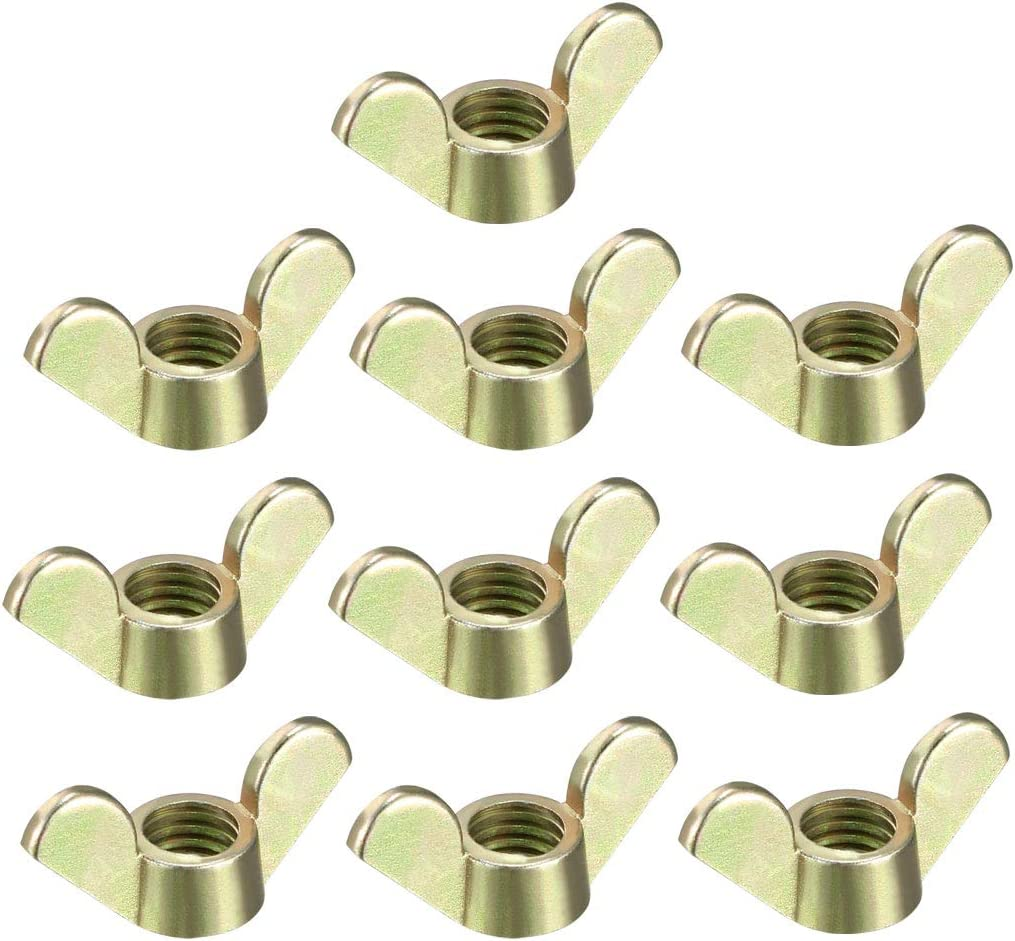 uxcell M8 Wing Nuts Zinc Plated Fasteners Parts Butterfly Nut Bronze Tone 10pcs