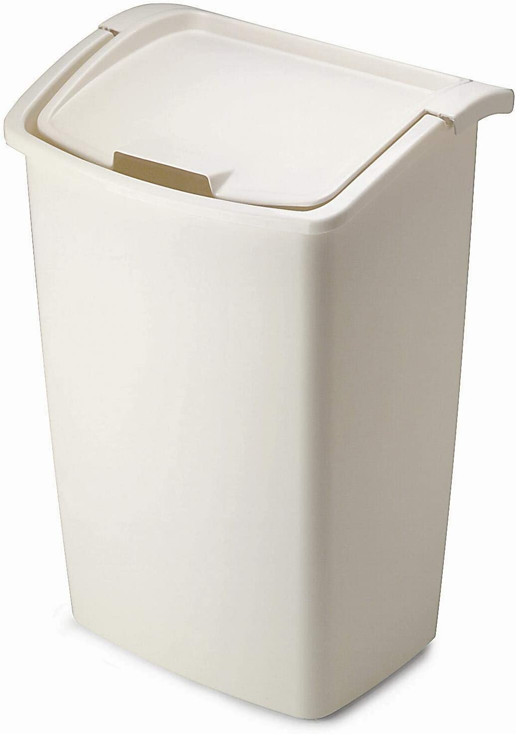 Rubbermaid FG280300BISQU Dual-Action Swing Lid Trash Can for Home, Kitchen, and Bathroom Garbage, 11.25 Gallon, Off-White Bisque, 45-quart, Tan: Home & Kitchen