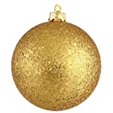 Vickerman Sequin Finish Christmas Ball Ornament Seamless Shatterproof with Drilled Cap, 10'', Antique Gold