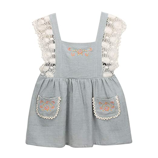 056db24b6a7 Amazon.com  Meisiqw Girls Dresses 1-6 Years Lace Floral Embroidery Casual  Summer Cotton Linen Strap Dress  Clothing