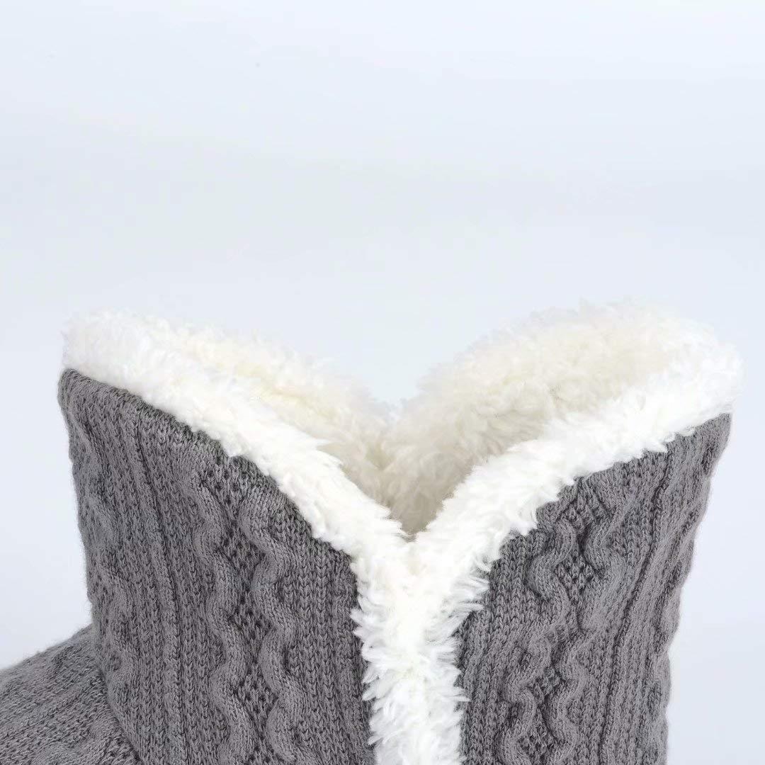 Pantuflas Mujer Zapatillas de Estar por casa de Mujer Caliente del Deslizador patea con Bordes del Tejido de Punto y Pompons