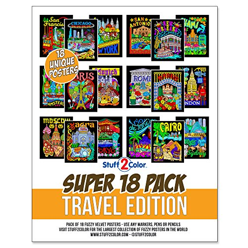 Super Pack of 18 Fuzzy Velvet Coloring Posters (Travel Edition) - Cities To Color From All Over The World -