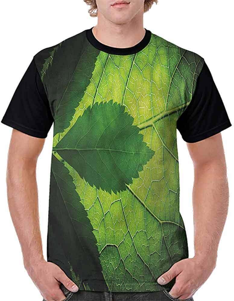 Round Neck T-Shirt,Brazilian Tree Leaf Eco Fashion Personality Customization