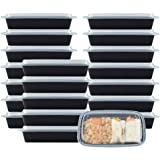 NutriBox 28 OZ [20 value pack] Meal Prep Plastic Food Storage Containers 1 Compartment with lids- BPA Free Reusable Lunch Ben