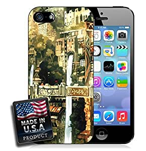 Waterfalls Asian Village Town Cartoon Painting iPhone 5/5s Hard Case by mcsharks