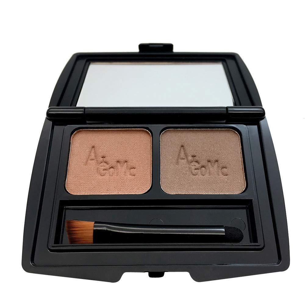 S.H.EEE 2 Color Eyebrow Powder Eye Brow Palette Cosmetic Shading Brush Mirror (A)