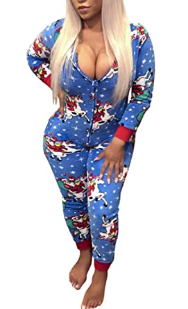 f60fa44bad Women s Long Sleeve One Piece Onsie Sleepwear Reindeer Unicorn Family  Matching Christmas Pajamas Jumpsuit Rompers (
