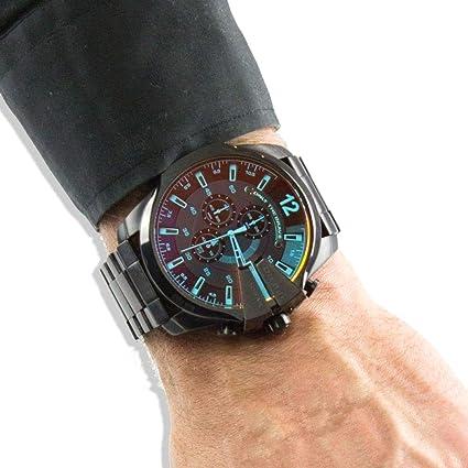 d19fcbdbe THENAUTICALMART Diesel DZ4318 Mega Chief Chronograph Black Stainless Steel  Men's Watch (Steel)