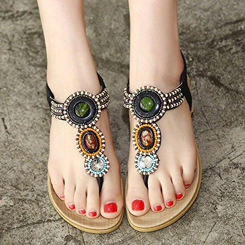 Aisun Womens Boho Beaded Split Toe Flat Beach Thong Flip Flop Sandals Shoes Black 6TPXrY4Dp