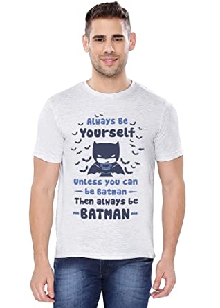 d44e6f940 The Souled Store DC Comics: Batman Be Yourself Superhero Graphic Printed  Light Grey Melange Cotton