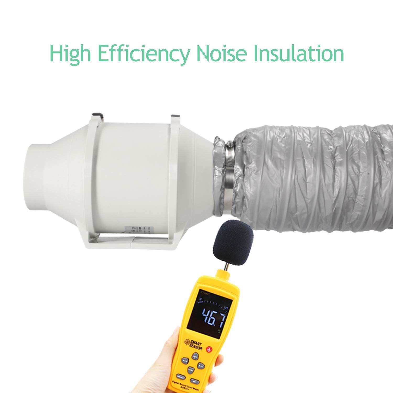 Conducto de ventilaci/ón flexible de aluminio aislado con silenciador de conducto de bajo ruido de 6 pulgadas y 5 m reductor de ruido para extractor de aire en l/ínea OPPEN