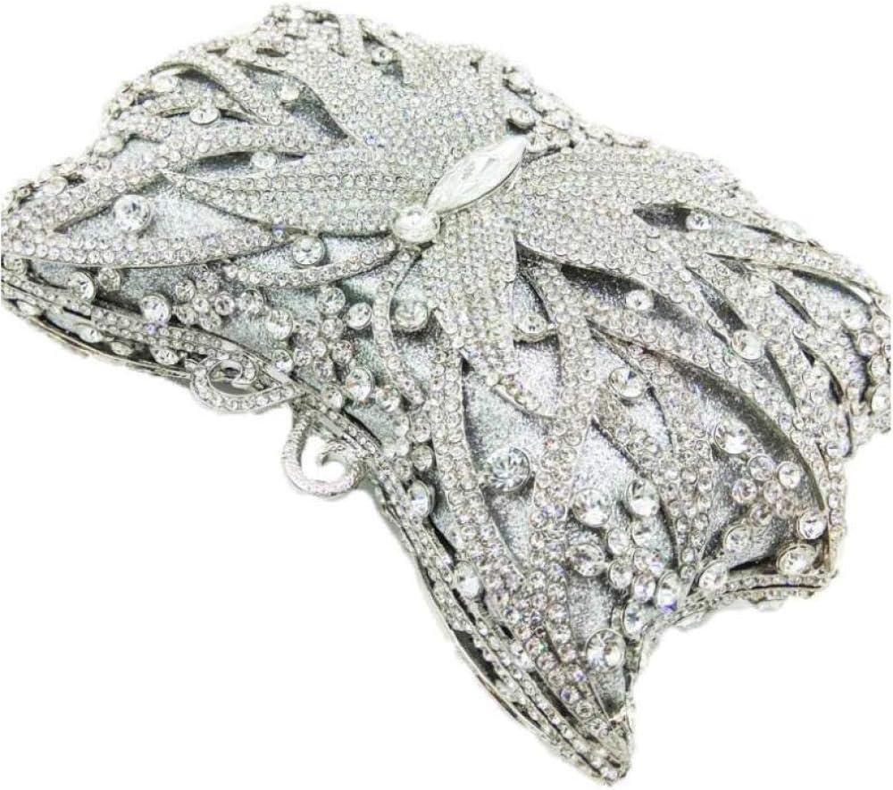 ZTDXCL Pochette Donna Elegante da Cerimonia Borsetta da Donna Prom Diamonds Borsa da Sera per Donna, Viola argento