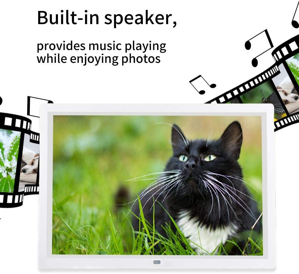 HD Multi-Function 1280800 Electronic Digital Pictures Frame Music Movie Player with Remote Controller Birthday US White Nannday 15.4 Inch Digital Photo Frame